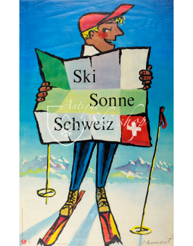 Vintage Swiss Ski Poster : SKI-SUN-SWITZERLAND