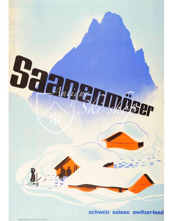 Vintage Swiss Ski Poster : GSTAAD - SAASENMOSER