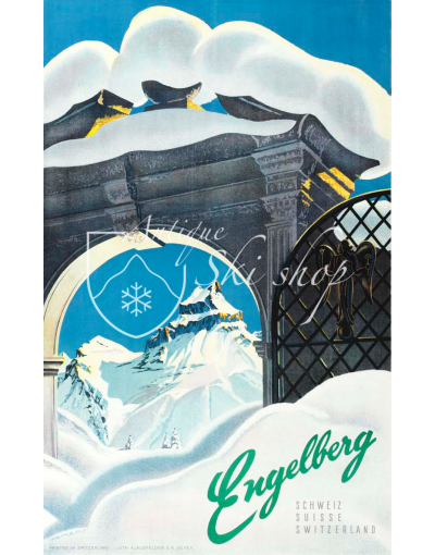 Vintage Swiss Ski Poster : ENGELBERG