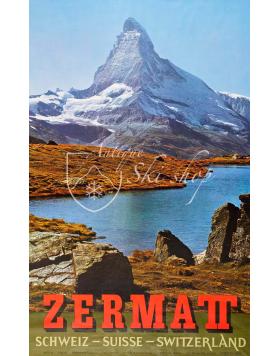 Vintage Swiss Ski Resort Poster : ZERMATT