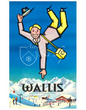 Vintage Swiss Ski Poster : WALLIS (Nr. 2)