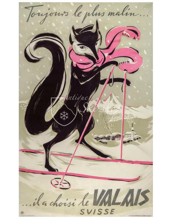 Vintage Swiss Ski Poster : WALLIS (Valais)