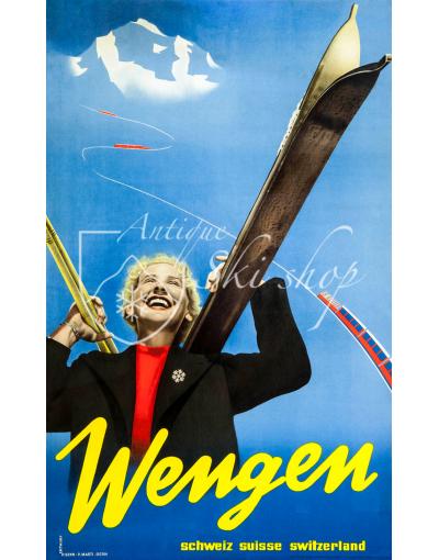 Vintage Swiss Ski Poster : WENGEN