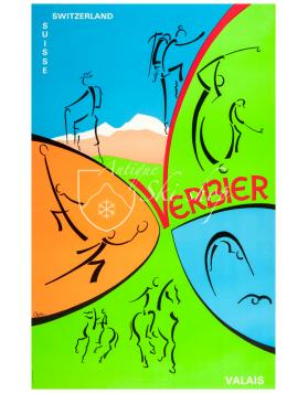 Vintage Swiss Ski Poster : VERBIER