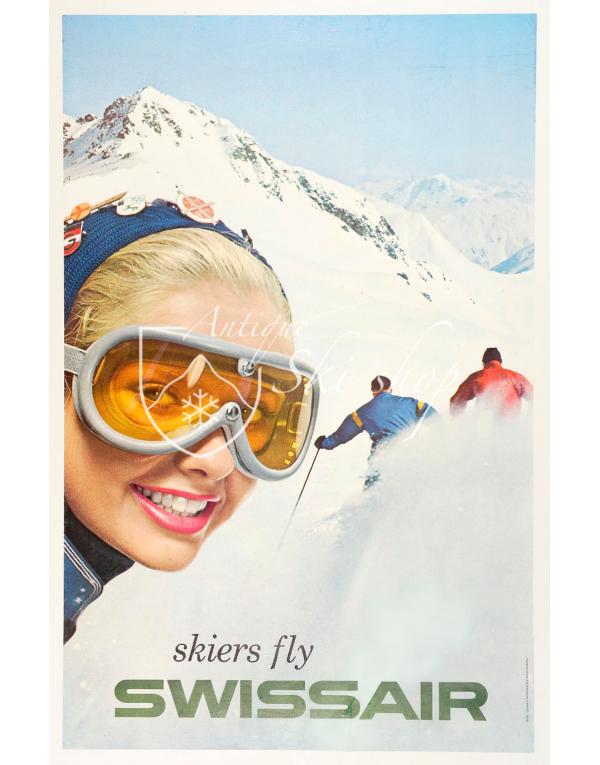 Vintage Swiss Ski Poster : SKIERS FLY SWISSAIR