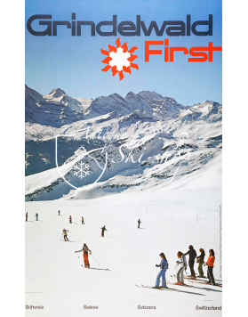 Vintage Swiss Ski Poster : GRINDELWALD FIRST