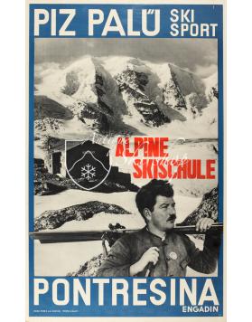 Vintage Swiss Ski Poster : PONTRESINA - PIZ PALU