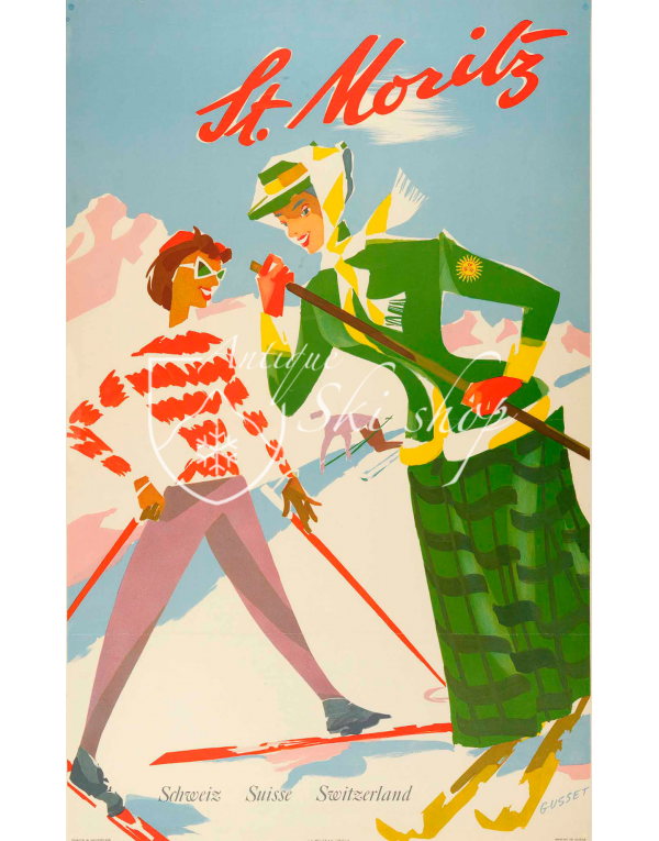 Vintage Swiss Ski Poster :  ST. MORITZ