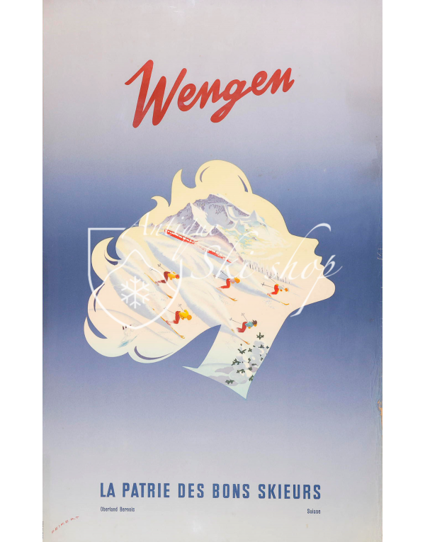 Vintage Swiss Ski Poster :  WENGEN - THE HOMELAND FOR GOOD SKIERS