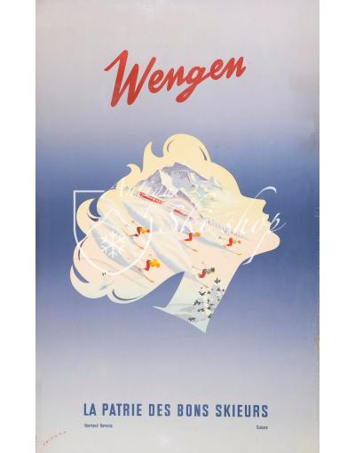 Vintage Swiss Ski Poster :  WENGEN - THE HOMELAND FOR GOOD SKIERS
