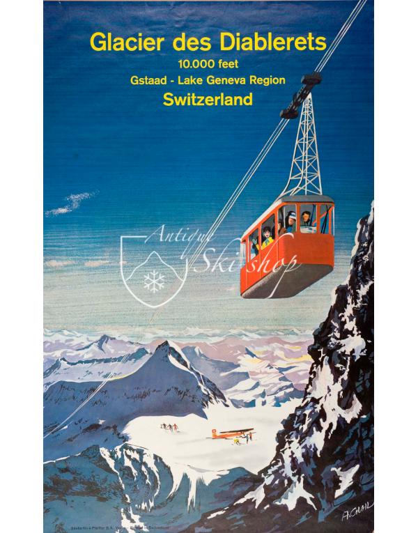Vintage Swiss Ski Poster : GLACIER DES DIABLERETS - GSTAAD