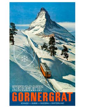 Vintage Swiss Ski Poster : ZERMATT - GORNERGRAT