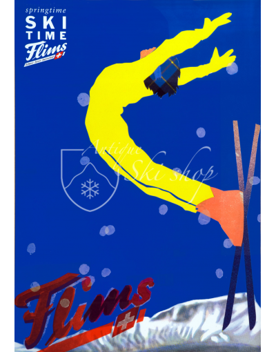 Vintage Swiss Ski Poster : FLIMS - SKI TIME