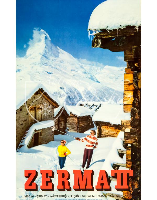 Vintage Swiss Ski Poster : ZERMATT (Nr. 2)