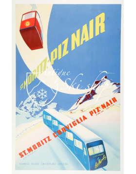 Vintage Swiss Ski Poster : PIZ NAIR - ST. MORITZ (SOLD - PRINT AVAILABLE)