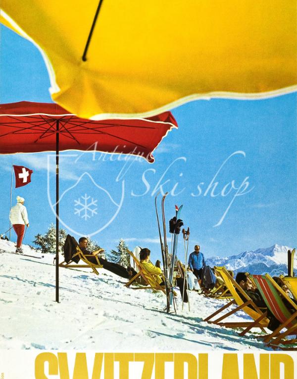 Vintage Swiss Ski Poster : SWITZERLAND - VILLARS