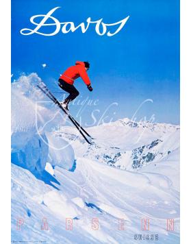 Vintage Swiss Ski Poster : DAVOS PARSENN (Nr. 2)