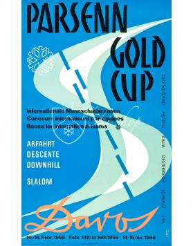 Vintage Swiss Ski Poster : DAVOS PARSENN: GOLD CUP 1958