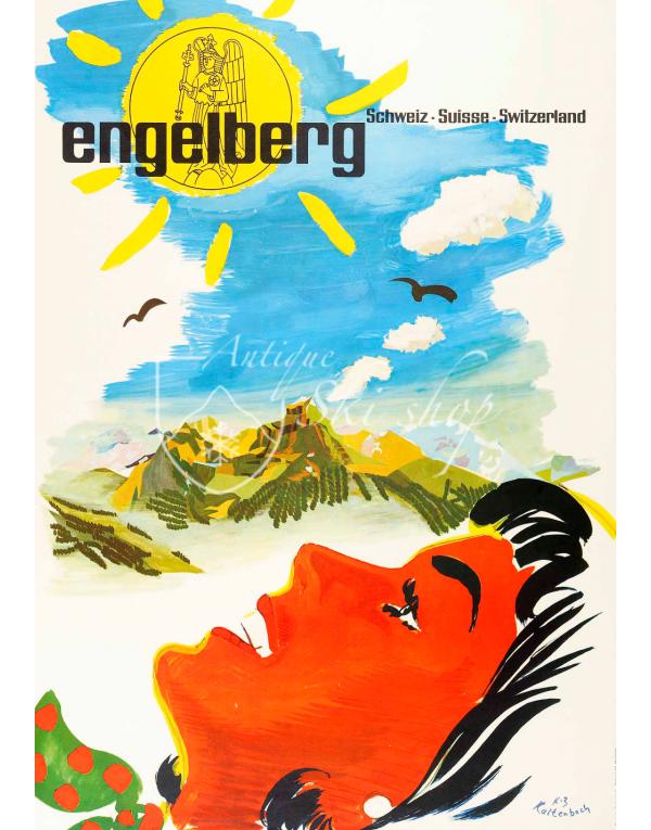 Vintage Swiss Ski Resort Poster : ENGELBERG