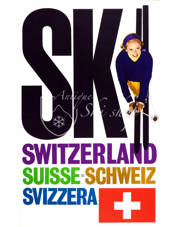 Vintage Swiss Ski Poster : SKI SWITZERLAND