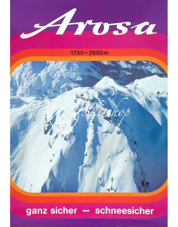 Vintage Swiss Ski Poster : AROSA - SWISSAIR