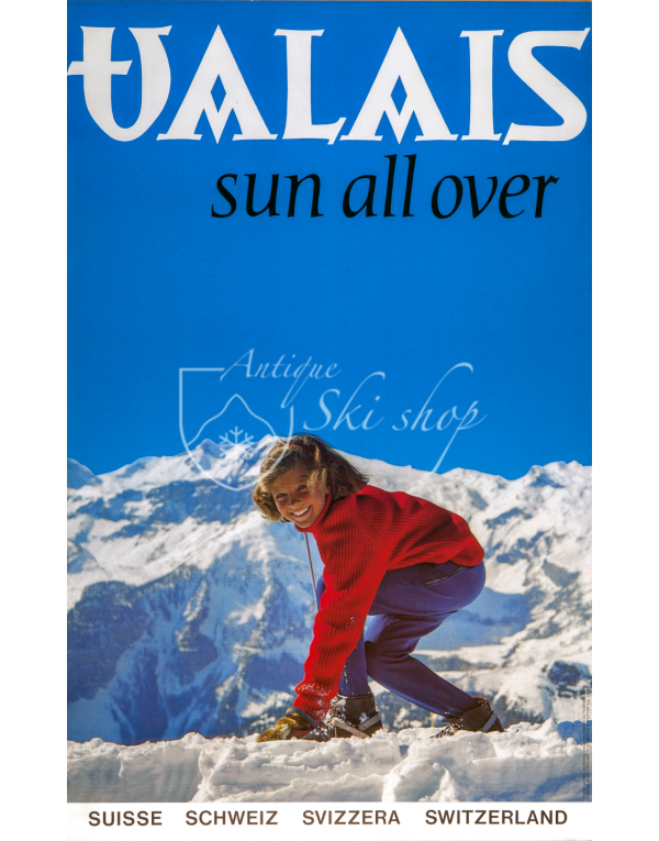 Vintage Swiss Ski Poster : VALAIS : SUN ALL OVER