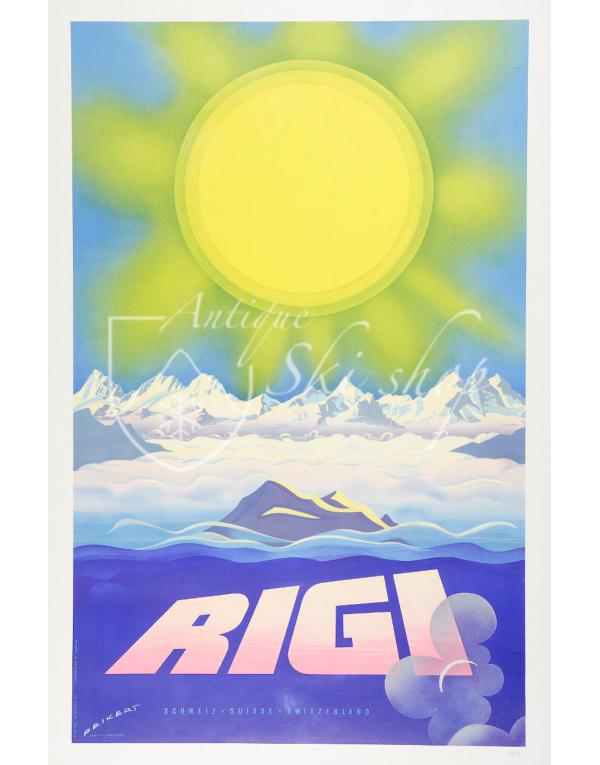 Vintage Swiss Ski Poster : RIGI : SUN OBER ALPS