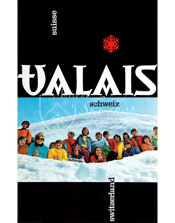 Vintage Swiss Ski Poster : VALAIS : SWITZERLAND