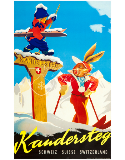 Vintage Swiss Ski Poster : KANDERSTEG