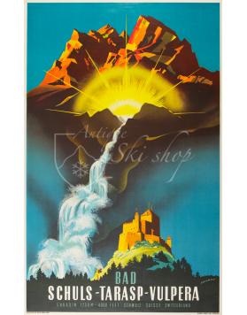 Vintage Swiss Travel Poster : SCHULS TARASP VULPERA