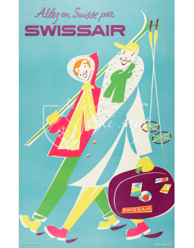 Vintage Swiss Ski Poster :  ALLEZ EN SUISSE PAR SWISSAIR