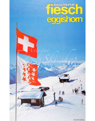 Vintage Swiss Ski Poster : FIESCH - EGGISHORN (VALAIS)