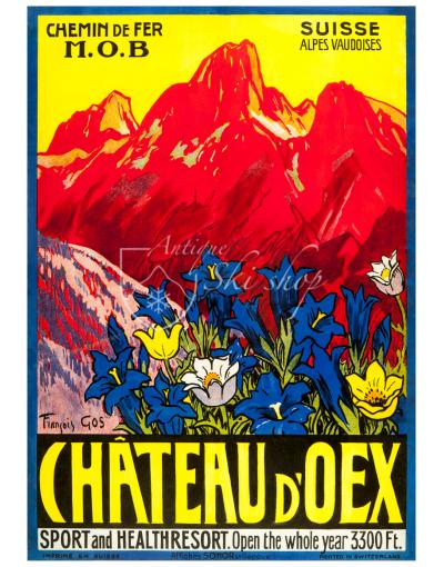 Vintage Swiss Ski Resort Poster : CHATEAU D'OEX