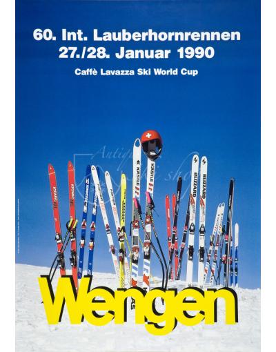 Vintage Swiss Ski Poster : LAUBERHORNRENNEN WENGEN 1990