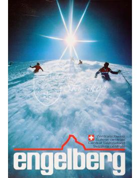 "Vintage Swiss Ski Poster : ENGELBERG ""POWDER"""