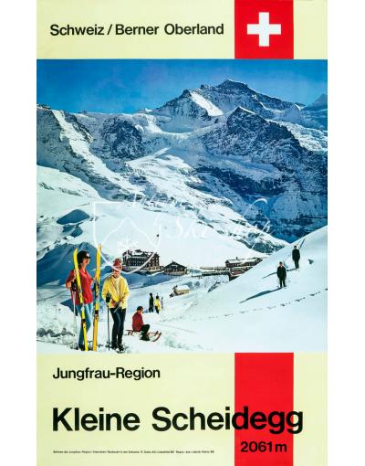 Vintage Swiss Ski Poster : KLEINE SCHEIDEGG, JUNGFRAU