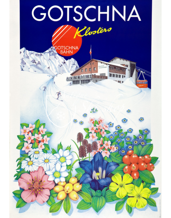 Vintage Swiss Ski Poster : KLOSTERS - GOTSCHNA