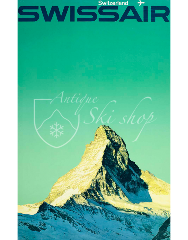 Vintage Swiss Travel Poster : SWISSAIR - ZERMATT