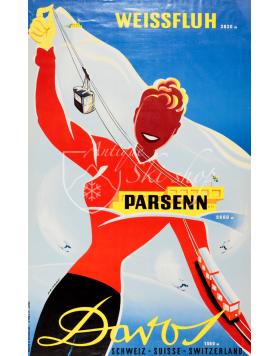 Vintage Swiss Ski Poster : WEISSFLUH PARSENN DAVOS