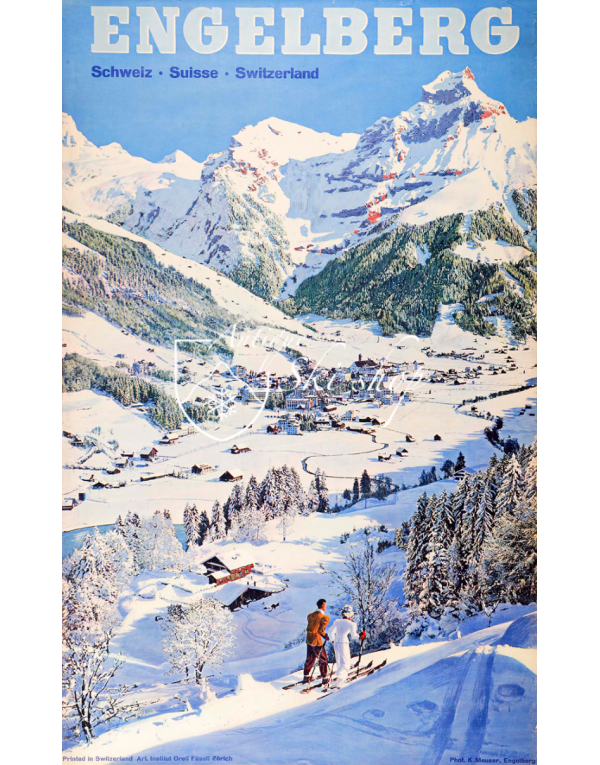 Vintage Swiss Ski Poster : ENGELBERG - MOUNTAINS & VILLAGE