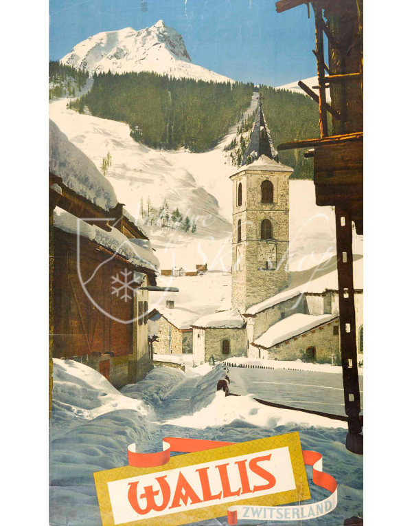 Vintage Swiss Ski Poster :  WALLIS, ZWITZERLAND