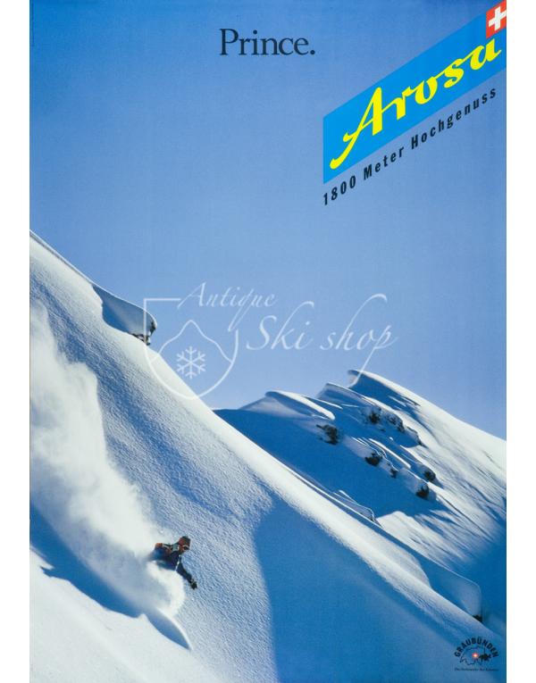 """Vintage Swiss Ski Poster : AROSA """"PRINCE"""""""