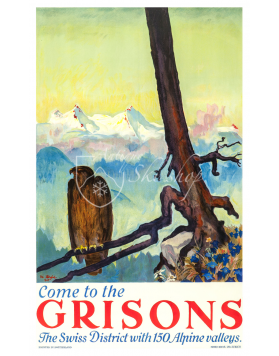 Vintage Swiss Travel Poster : COME TO THE GRISONS