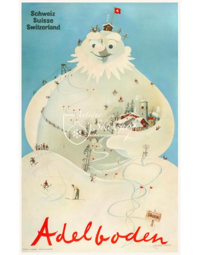 """Vintage Swiss Ski Poster : ADELBODEN """"SNOWMAN"""""""