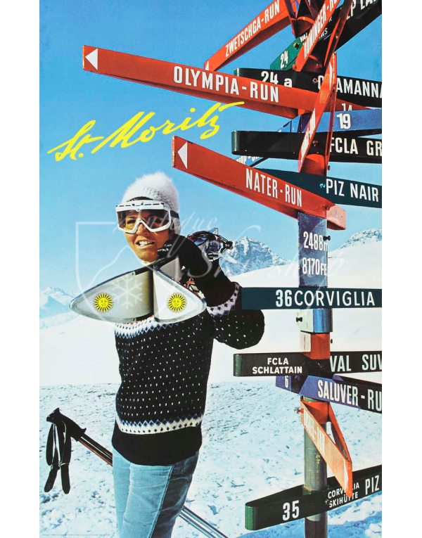 "Vintage Swiss Ski Poster : ST. MORITZ ""SIGN POST"""