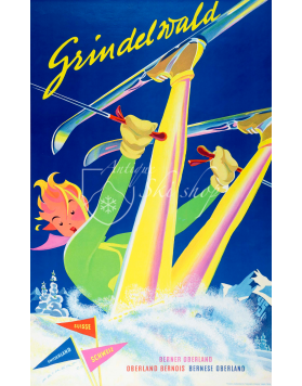"""Vintage Swiss Ski Poster : GRINDELWALD """"BERNER OBERLAND"""""""