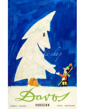 Vintage Swiss Ski Poster : DAVOS PARSENN: SNOW TREE