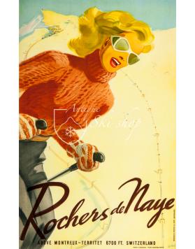 Vintage Swiss Ski Poster : ROCHERS DE NAYE