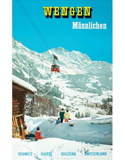 Vintage Swiss Ski Poster : WENGEN MANNLICHEN