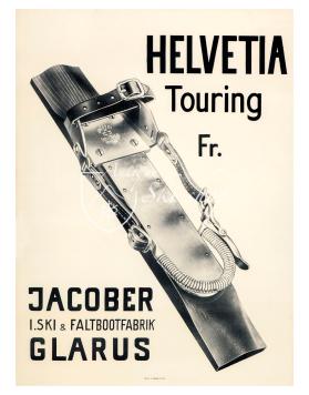 Vintage Swiss Ski Poster : HELVETIA TOURING BINDINGS